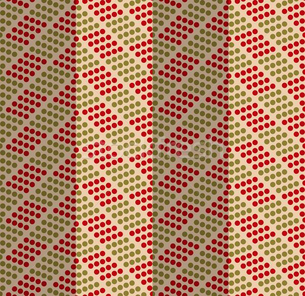 Retro fold green and red dotted chevron Stock photo © Zebra-Finch