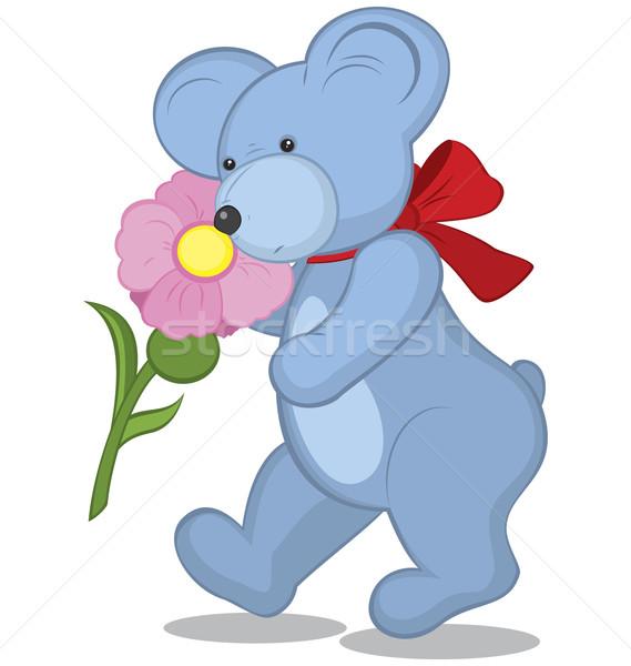 Blue Teddy bear with flower Stock photo © Zebra-Finch