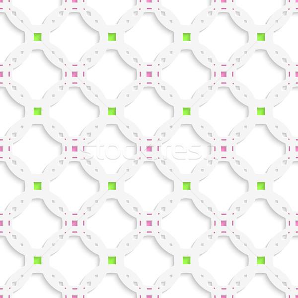 Fehér dísz zöld rózsaszín végtelenített absztrakt Stock fotó © Zebra-Finch
