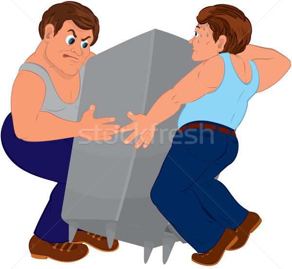Two cartoon men in blue pants and blue tops holding furniture Stock photo © Zebra-Finch
