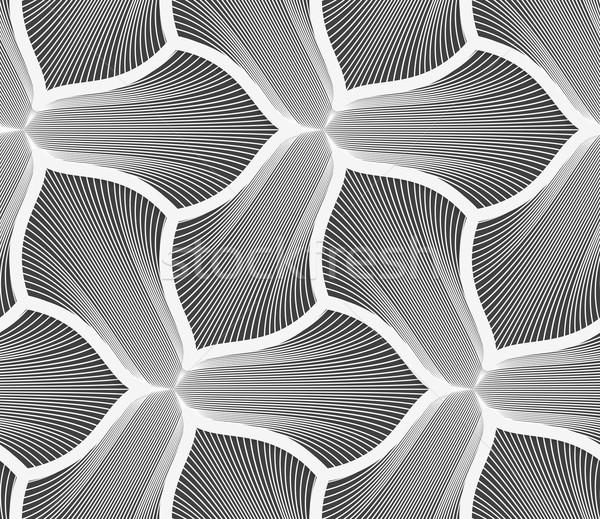 Monochrome striped three pedal flowers with thick stroke Stock photo © Zebra-Finch