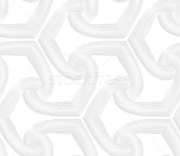 3D witte gestreept spades naadloos geometrisch patroon Stockfoto © Zebra-Finch