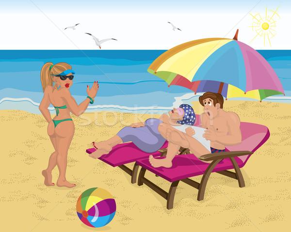 Echtpaar paraplu strand jong meisje gezegde hallo Stockfoto © Zebra-Finch