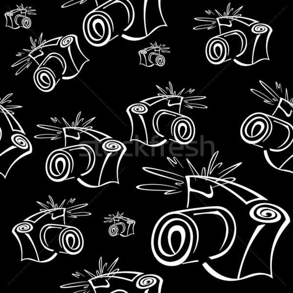 Black and white contour photo camera seamless Stock photo © Zebra-Finch