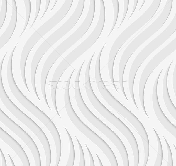 Papír kivágás hullámos levelek szürke fehér kivágás Stock fotó © Zebra-Finch