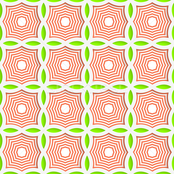 Colored 3D green and orange striped pointy squares Stock photo © Zebra-Finch