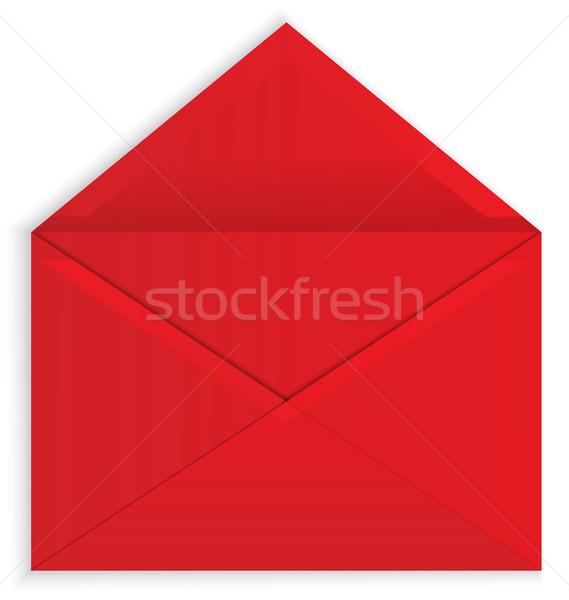 Piros boríték nyitva vektor papír valósághű Stock fotó © Zebra-Finch