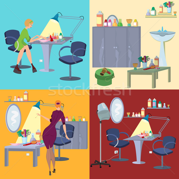 Beauty salon spa flat people and furniture Stock photo © Zebra-Finch