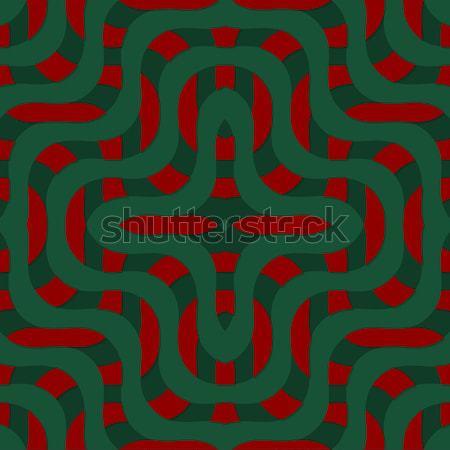 Retro 3D yeşil kırmızı dalgalar Stok fotoğraf © Zebra-Finch