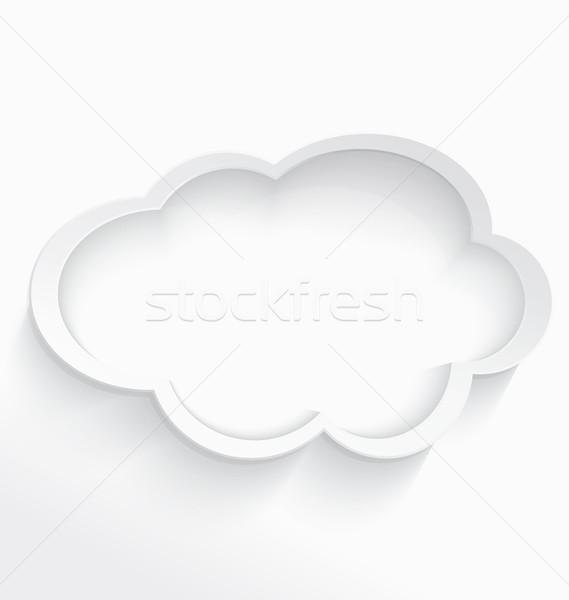 Felhő alapú technológia keret fehér 3D felhő alakú Stock fotó © Zebra-Finch