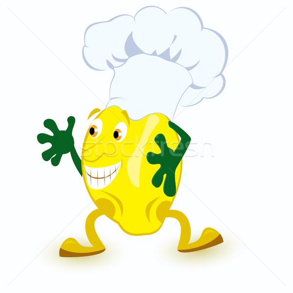 Citrom rajzfilmfigura szakács sapka szem arc boldog Stock fotó © Zebra-Finch