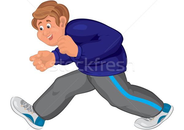 Feliz Cartoon hombre caminando zapatillas ilustración Foto stock © Zebra-Finch