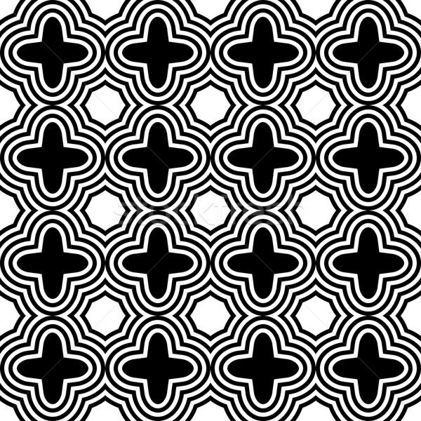 Siyah beyaz şık geometrik modern soyut model Stok fotoğraf © Zebra-Finch