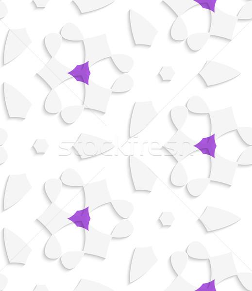 White  geometrical floristic with purple seamless pattern Stock photo © Zebra-Finch