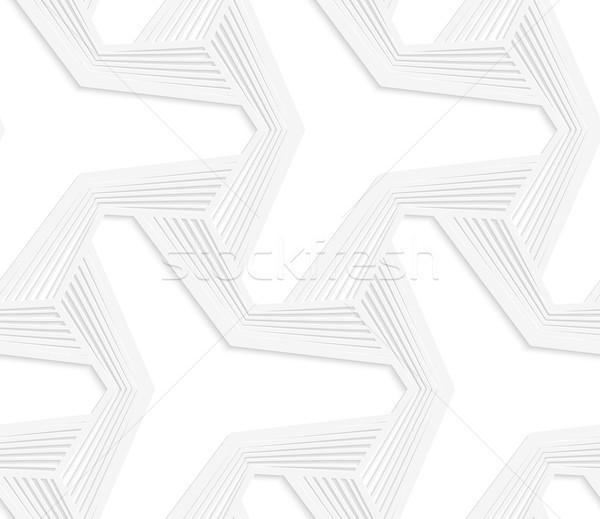3D white three ray hexagonal stars with striped offset Stock photo © Zebra-Finch