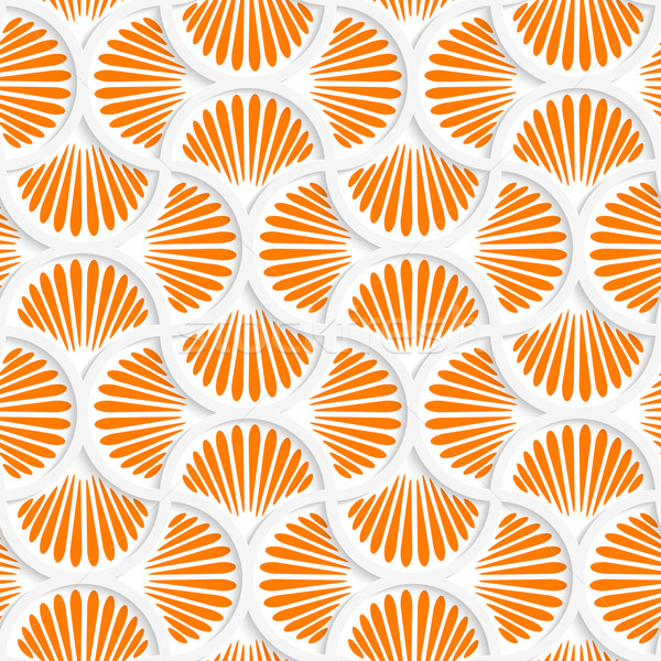 Stock photo: 3D orange ray striped pin will grid