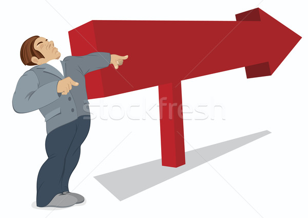 Man is pointing in the direction of a red arrow Stock photo © Zebra-Finch