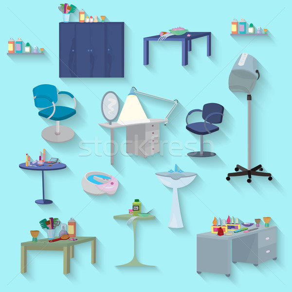 Beauty spa furniture set flat design Stock photo © Zebra-Finch