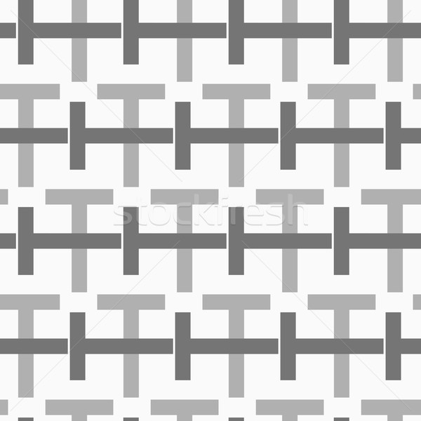 Monochrome pattern with black and gray intersecting t shapes Stock photo © Zebra-Finch