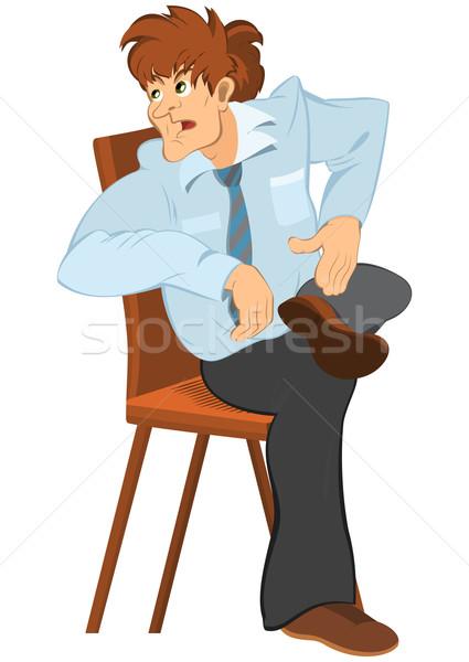 Retro hipszter férfi barna haj ül szék Stock fotó © Zebra-Finch