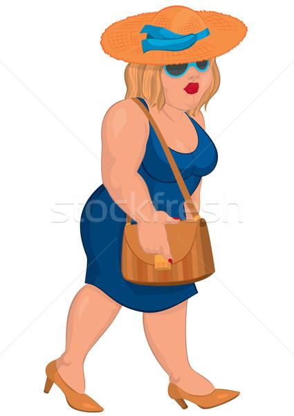 Cartoon избыточный вес синий платье соломенной шляпе Сток-фото © Zebra-Finch