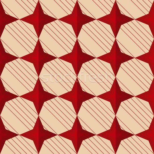 Retro piros csillagok mértani dísz minta Stock fotó © Zebra-Finch