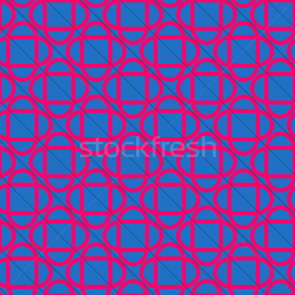 Retro 3D blue and pink diagonally cut intersecting ovals Stock photo © Zebra-Finch