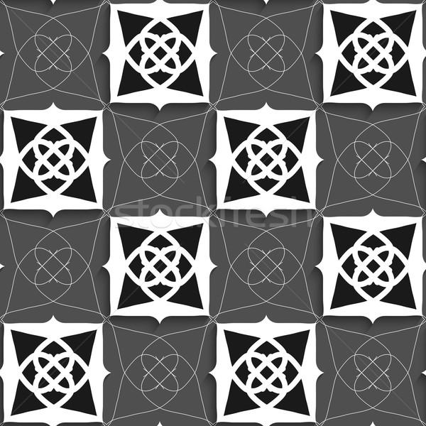 Geometryczne arabski ozdoba czarno białe szczupły drutu Zdjęcia stock © Zebra-Finch