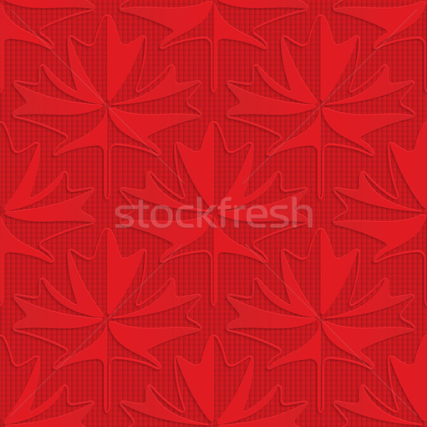 Red maple leaves on checkered background Stock photo © Zebra-Finch