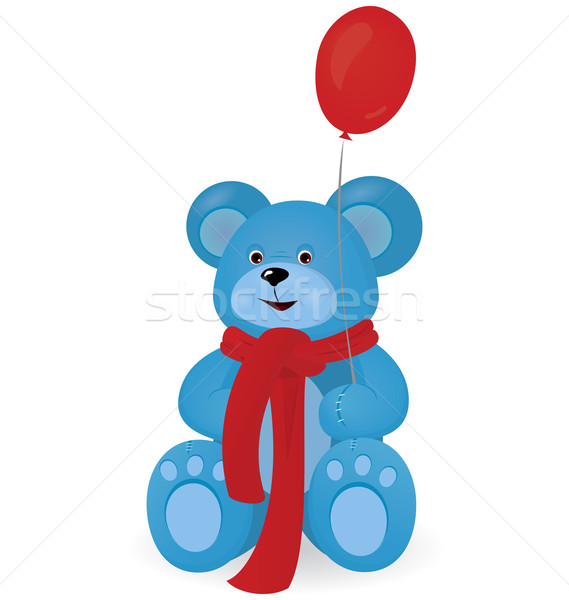 Blue Teddy bear with red balloon Stock photo © Zebra-Finch