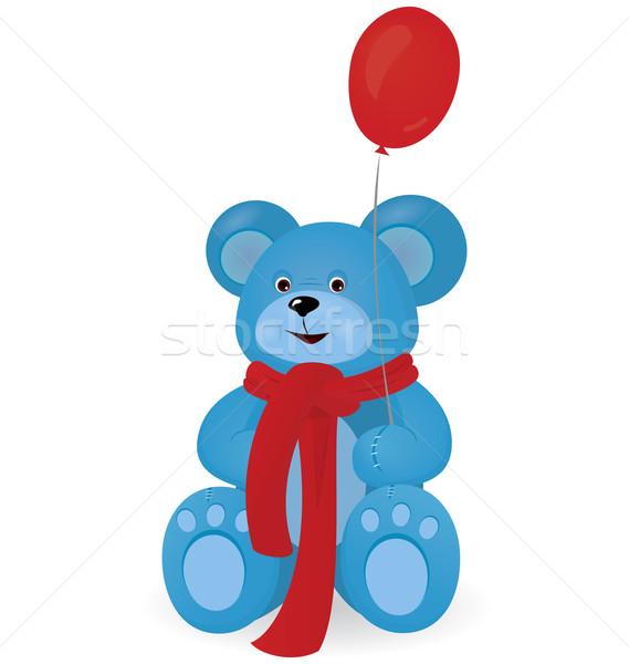 Blau Teddybär rot Ballon weiß Gesicht Stock foto © Zebra-Finch