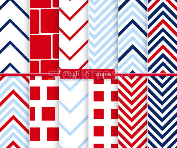 Bright and simple red and blue squares pattern set Stock photo © Zebra-Finch