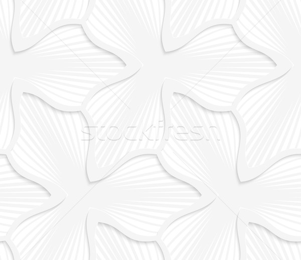 3D white abstract three pedal flower with gray stripes Stock photo © Zebra-Finch