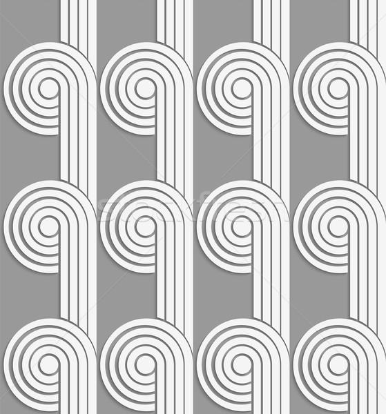 Papír kivágás körök csíkok szürke fehér kivágás Stock fotó © Zebra-Finch