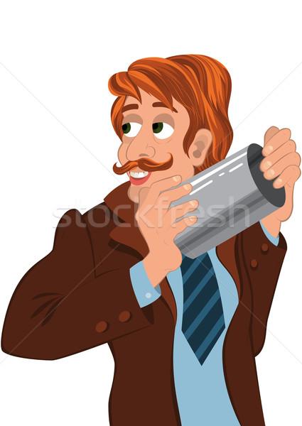 Desenho animado homem marrom jaqueta sorridente Foto stock © Zebra-Finch