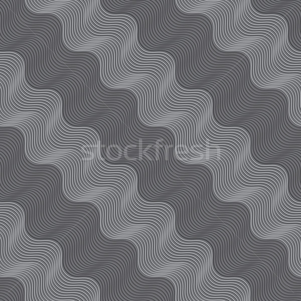 Repeating ornament diagonal light and dark gray wavy Stock photo © Zebra-Finch