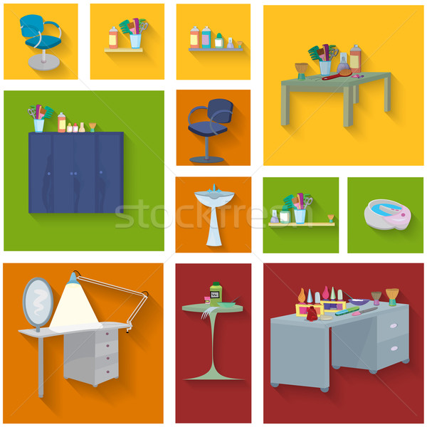 Beauty spa furniture icon set flat design Stock photo © Zebra-Finch
