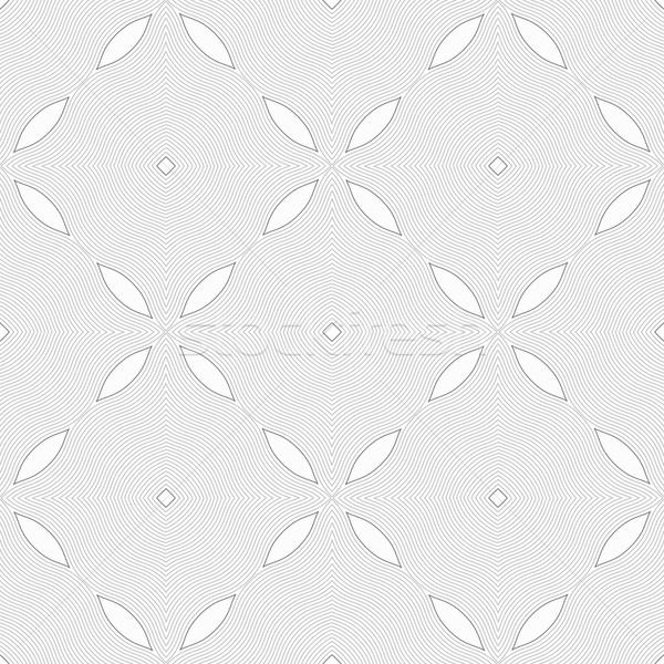 Monochrome pattern with light gray wavy guilloche squares Stock photo © Zebra-Finch