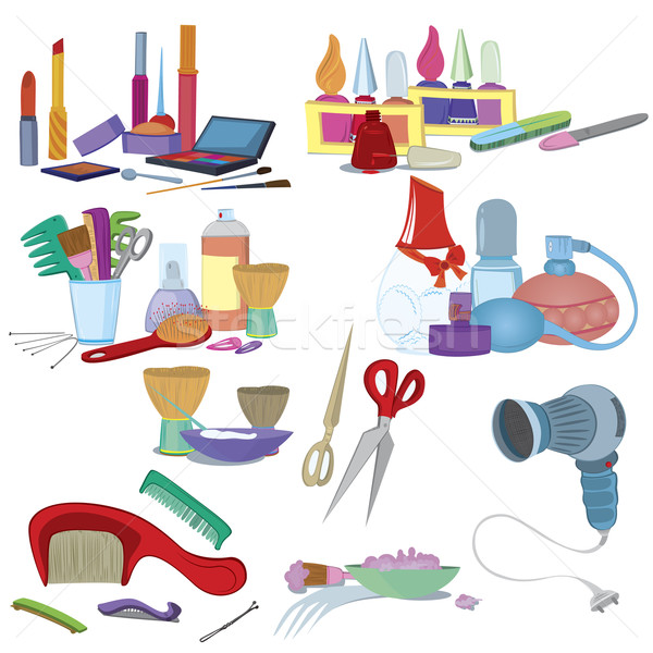 Beauty salon brushes, make up manicure icon set   Stock photo © Zebra-Finch