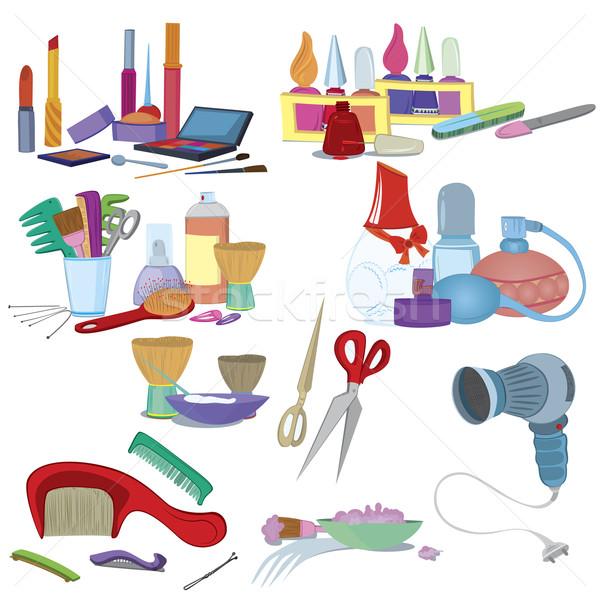 Foto stock: Salón · de · belleza · componen · manicura · patrón · cepillo