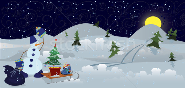 Snowman with bag and sleds banner Stock photo © Zebra-Finch
