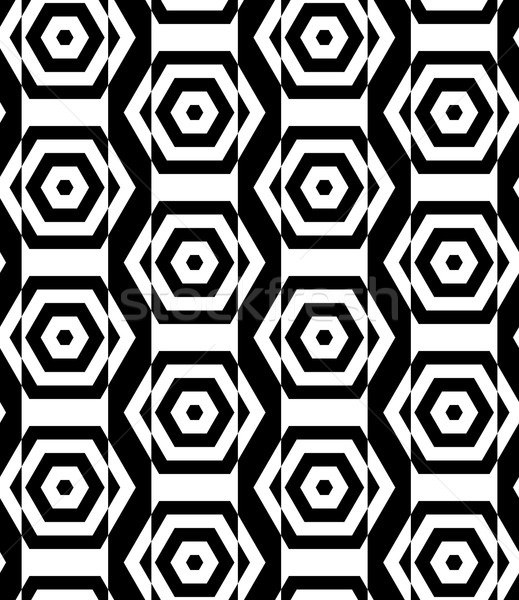 Black and white alternating rectangles cut through hexagons vert Stock photo © Zebra-Finch