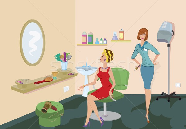Beauty salon client in red dress is looking in the mirror Stock photo © Zebra-Finch