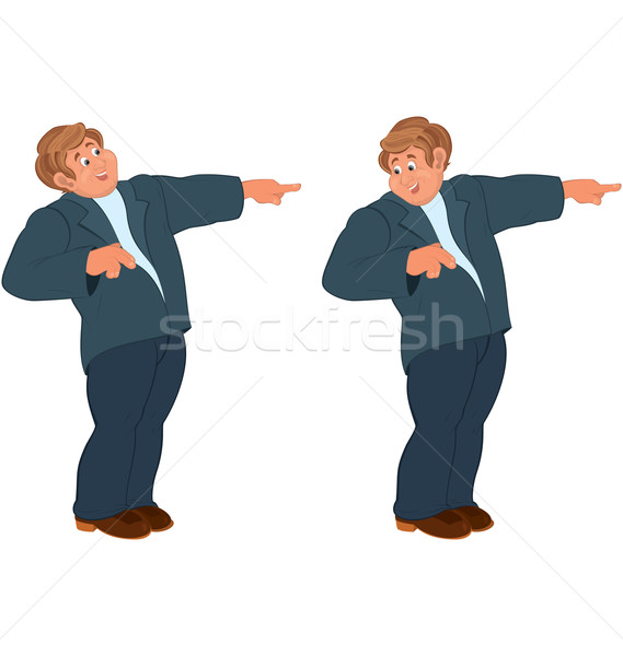 Happy cartoon man standing in blue suit and pointing with index  Stock photo © Zebra-Finch