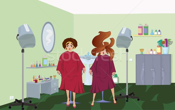 Szépségszalon ügyfelek vár fodrász nő haj Stock fotó © Zebra-Finch