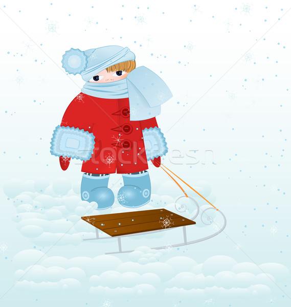 Rajz gyerek hó vektor áll piros Stock fotó © Zebra-Finch