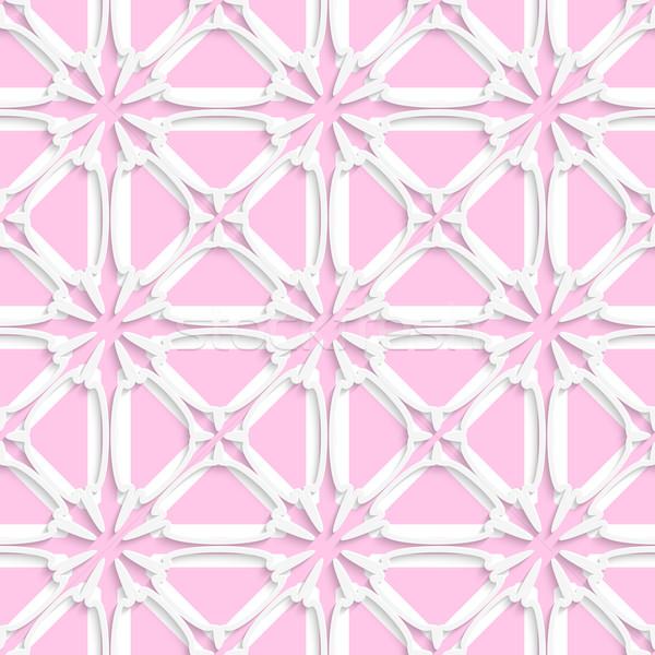Fehér csempe dísz fény rózsaszín absztrakt Stock fotó © Zebra-Finch