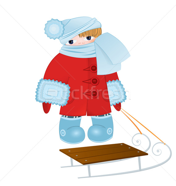Cartoon kid with sled vector Stock photo © Zebra-Finch