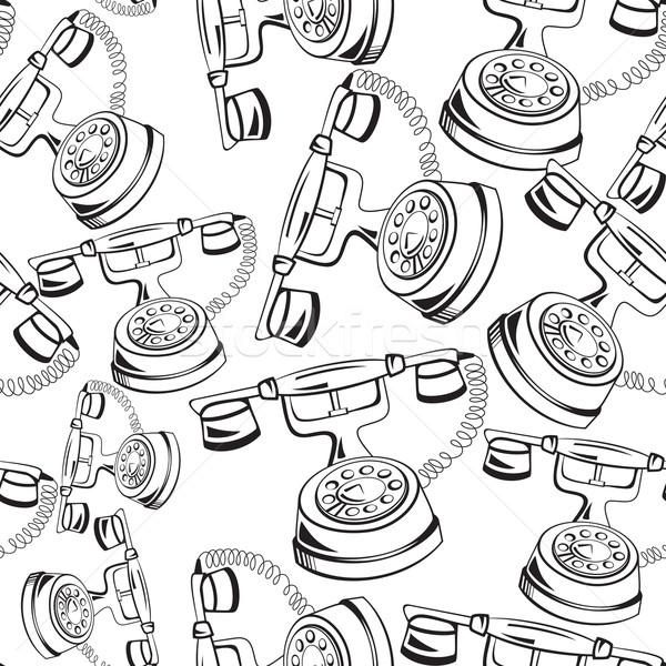 Black and white contour phone seamless vector Stock photo © Zebra-Finch