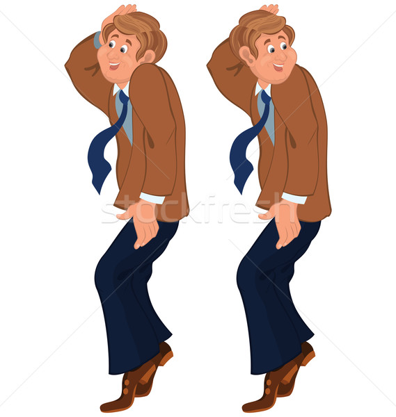 Happy cartoon man standing on tiptoe in brown jacket and tie Stock photo © Zebra-Finch